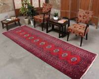 3x10 Handmade Geometric Traditional Vintage Oriental Wool Red Runner Area Rug