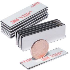 10 x Neodym Magnet Selbstklebend Quader Magnete 30x10x1 mm 2KG 3M Kleber 4920