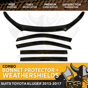 Bonnet Protector & Window Visors to suit Toyota Kluger 2013-2020 Weathershields