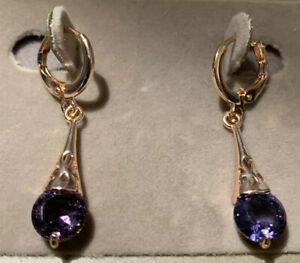 sterling silver gifts for women Lavender drop earrings