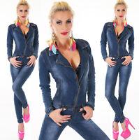Overall tuta donna elast.taglio chiodo zip skinny blu jeans nuova tg XS,S,M,L,XL