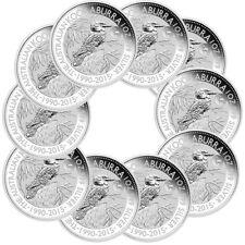 10 x 1 oz Silber Kookaburra Privy Mark Ziege 2015 Stempelglanz in Münzkapsel