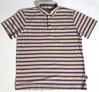 Patagonia Men's Short Sleeve Striped Pocket Polo Shirt Size Large Organic Cotton
