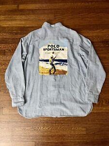 vtg Bnwt Ralph Lauren Polo Sportsman Button-Down Shirt Sz Xl Ivy Sport Fishing