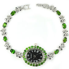 Sterling Silver 925 Genuine Green Chrome Diopside & Silver Flower Watch 7.25 In