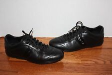 Womens PRADA Black Leather Casual Sneakers Shoes Size 38.5