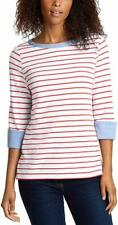 NEW NAUTICA WHITE+RED STRIPED,BLUE TRIM COTTON CHAMBRAY TOP SHIRT 3/4 SLEEVE