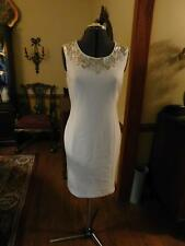 BEAUTIFUL WHITE BEADED SHEATH DRESS FOR AN INFORMAL WEDDING OR FORMAL SIZE 8