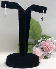 NEW Silver Hoop Dangle Drop Huggie Cross Earrings, Aretes con Cruz en Plata Moda