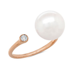 0.06CT 14K Rose Gold Natural Fresh Water Pearl Diamond Cocktail Open Wrap Ring
