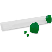 Playmat Tube - Clear with Green Caps and Dice