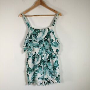 Forever New womens playsuit romper size 12 white blue leaf print short sleeve