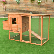 "68"" Pet Wooden House Rabbit Hutch Chicken Coops Cage Nest Box w Tray Run Outdoor"