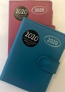 2020 Week to View Diary & Address Book With Retractable Pen, Pocket A7 Pink/Blue