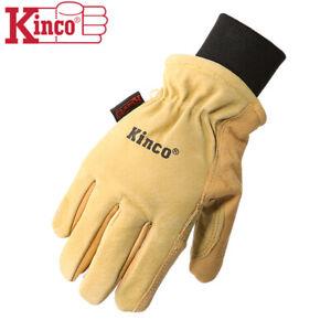 Kinco 901 Mens Leather Ski Gloves Heatkeep Winter Work Warm Thermal Pigskin M-XL