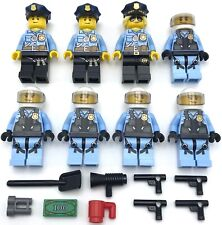 LEGO 8 NEW POLICE MINIFIGURES SWAT TEAM FIGURES WITH MONEY GUNS CITY MORE