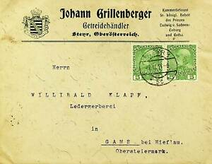 AUSTRIA PRE WWI FRANZ JOSEPH 5h PAIR ON COVER FROM STEYR TO GAMS