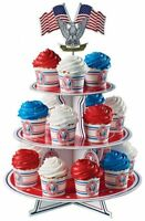 Boy Scout Official Eagle Scout Court of Honor Cupcake Stand Red White Blue Flags
