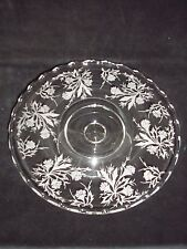 """Fostoria Crystal Heather Etched 6037 12"""" Pedestal Cake Stand 2-3/4"""" Tall"""