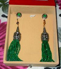 Antique Look Rosecut Diamond 925 Sterling Silver Emerald Tassel Earring