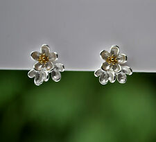 Sterling Silver 925 Two Tone Flower Blossoms Large Stud Earrings