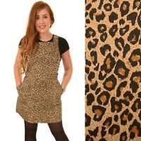 Retro Leopard Print Cotton Pinafore Dungaree Mini Dress by Run and Fly