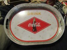 "COKE TRAY COCA-COLA METAL GALVANIZED TRAY 16"" X 11 1/2"""