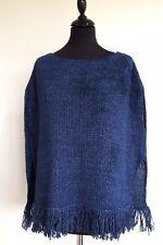 Ladies Designer Slate Blue Poncho Knitted Cape By Fabiana Filippi Size:14/Large