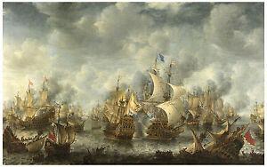 """Maritime """"Battle of Ter Heijde"""" Jan Abrahamsz Beerstraten XVII century"""