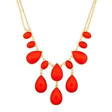 Lux Accessories Orange Waterfall Stone Statement Necklace