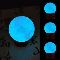 35MM Blue Luminous Quartz Crystal Sphere Ball Glow In The Dark Stone.