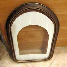 "VINTAGE LARGE  WOOD Round Top Flat Glass  PICTURE FRAME & Matt 24"" x 16"""