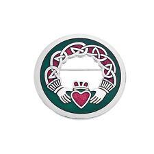 Enamel Celtic Claddagh Scarf Pin / Brooch