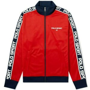 Polo Sport Ralph Lauren Red Track Jacket USA Flag Spell Out Men's M, L, XL