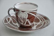 2 Tassen mit Silber Overlay - Silver overlay - galvanische Silberauflage