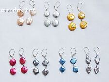 COIN square reborn Keshi Nucleated freshwater pearl earring s925Leverback