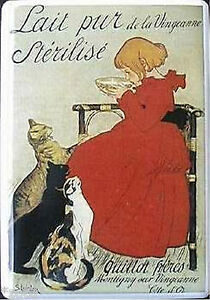 Lait Pure Sterilise de La Vingeanne Cats Milk - 4 5/16in x 3 1/8in Tin Sign