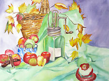 "'Butter Churn and Nutmeg Grater"", kitchen, food, old fashioned, apples, wicker"