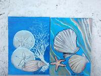 "2 pcs Original Art  acrylic on 5""x7"" Canvas Painting Coastal, Beach Art Decor"