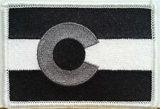 COLORADO State Flag Patch W/ VELCRO® Brand Fastener Gray Version Emblem #7