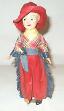 VINTAGE 1940S WILMINGTON NORTH CAROLINA WOOD CERAMIC WESTERN DOLL FOLK ART