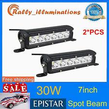 Pair 7inch 30w LED Work Light Bar SUV Truck ATV 12V 24V Spot Offroad Light RALLY