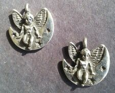 2 - Angel Wings Fly Goddess Moon Stars Spiritual Silver Earrings Charms Jewelry