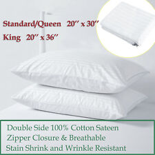 2X 4X 100% Cotton Sateen Pillow Cover Protector Pillowcase Standard Queen King