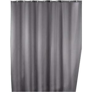 Wenko Anti-Mould Washable Shower Bathroom Curtain, Polyester, with Rings - Grey