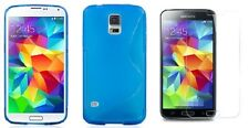 BLUE S-LINE TPU CASE + SCREEN PROTECTOR FOR STRAIGHT TALK SAMSUNG GALAXY S5