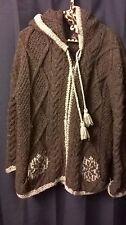 Women's Sweater ARTESANIA Thick Bulky Zip Cable Knit Brown Gray EUC!! Sz L