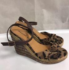 MADDEN GIRL Sz 8  Wedge Shoes Sandals Leopard Print Buckle CUTE !