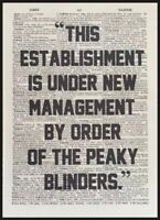 Peaky Blinders Quote Vintage Dictionary Page Print Picture Art New Management