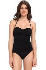 La Blanca Black Core One Piece Bandeau Swimsuit Bathing Suit NWT $109 8 Medium